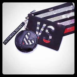 Handbags - Victoria Secret bling clutch trio, pouch, sequins